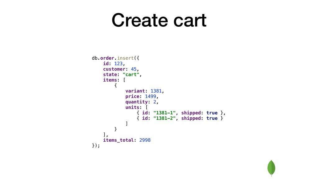 Create cart db.order.insert({ id: 123, customer...