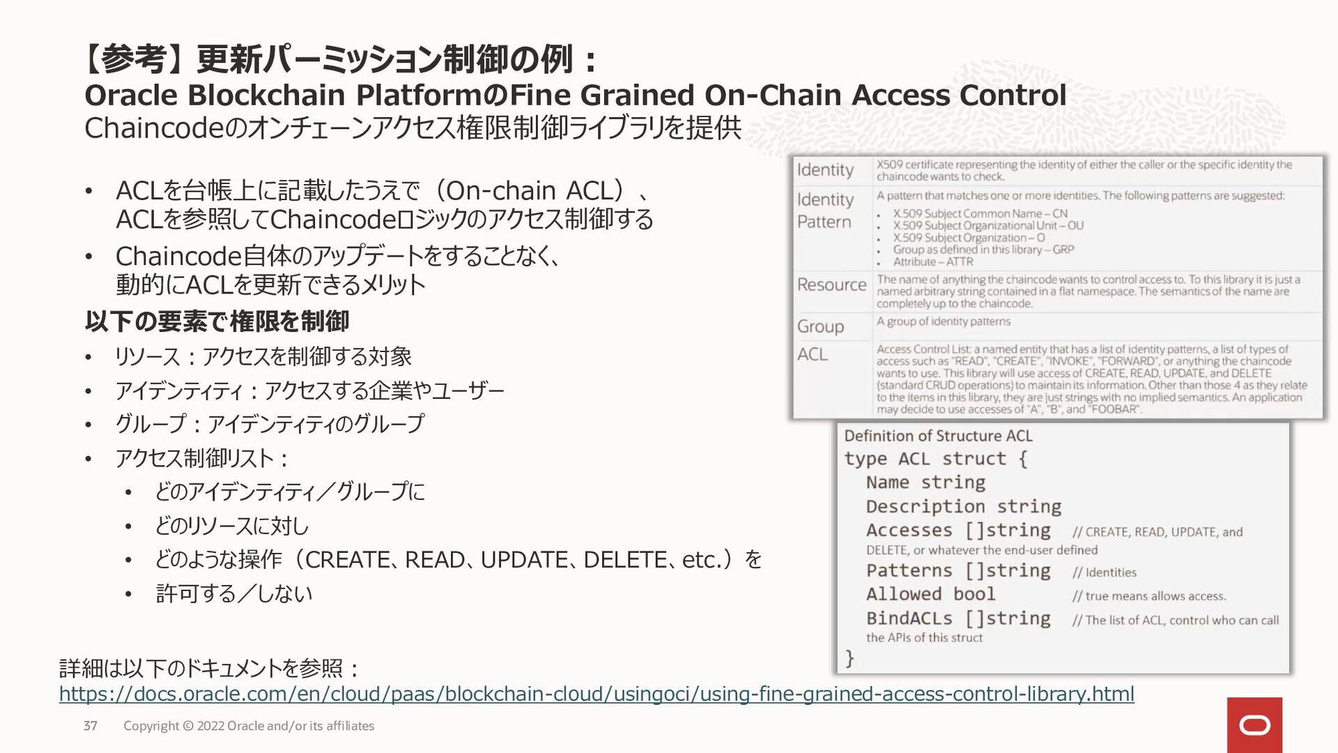 Chaincodeのオンチェーンアクセス権限制御ライブラリを提供 • ACLを台帳上に記載した...