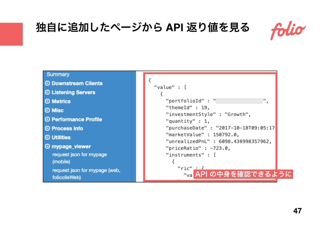 "ಠࣗʹՃͨ͠ϖʔδ͔Β API ฦΓΛݟΔ 47 ""1*ͷதΛ֬Ͱ͖ΔΑ͏ʹ"