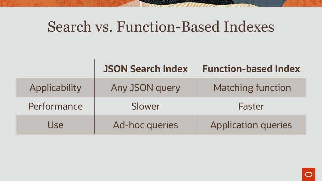 Search vs. Function-Based Indexes JSON Search I...
