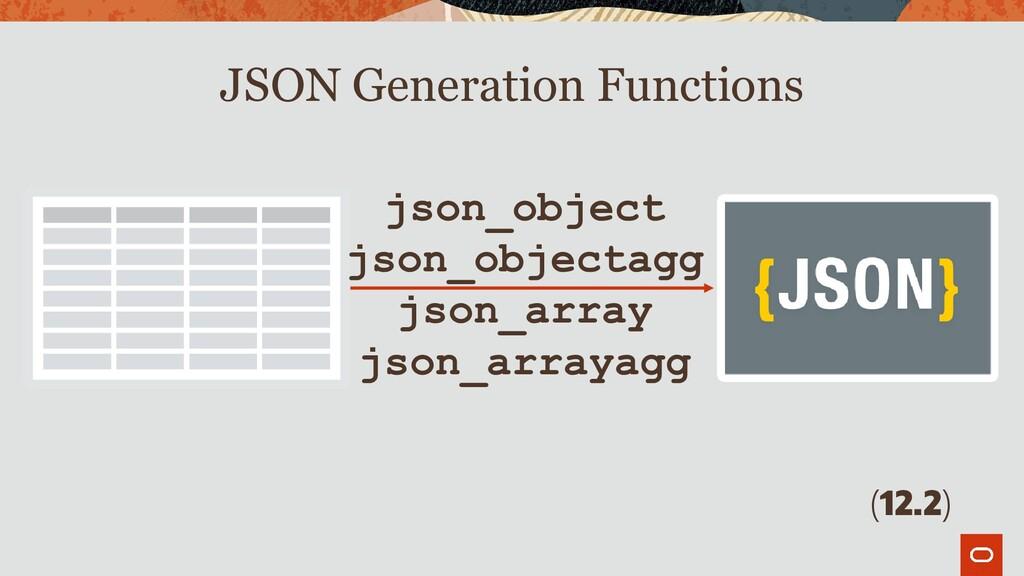 json_object json_objectagg json_array json_arra...