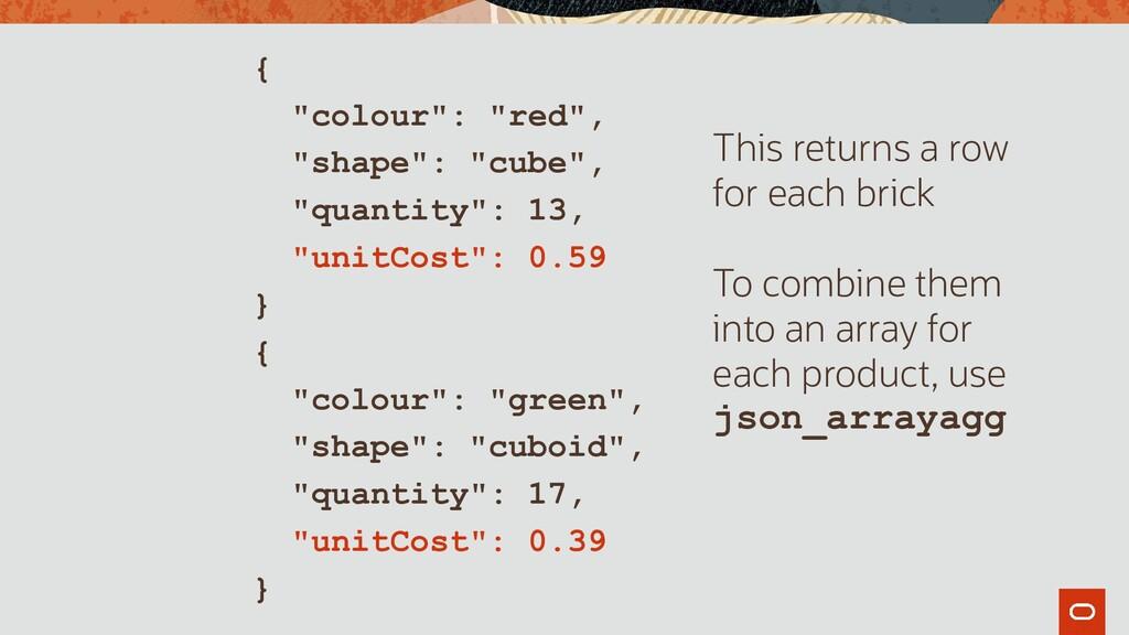 """{ """"colour"""": """"red"""", """"shape"""": """"cube"""", """"quantity"""":..."""