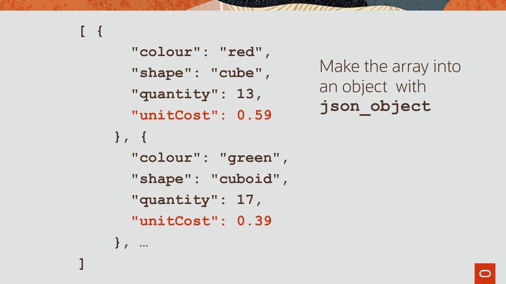 """[ { """"colour"""": """"red"""", """"shape"""": """"cube"""", """"quantity..."""