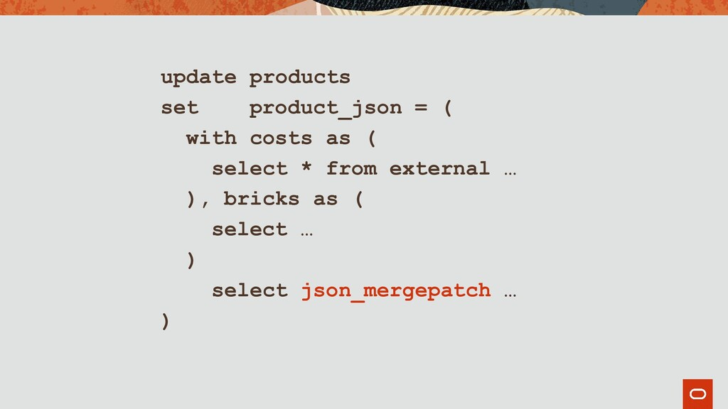 update products set product_json = ( with costs...