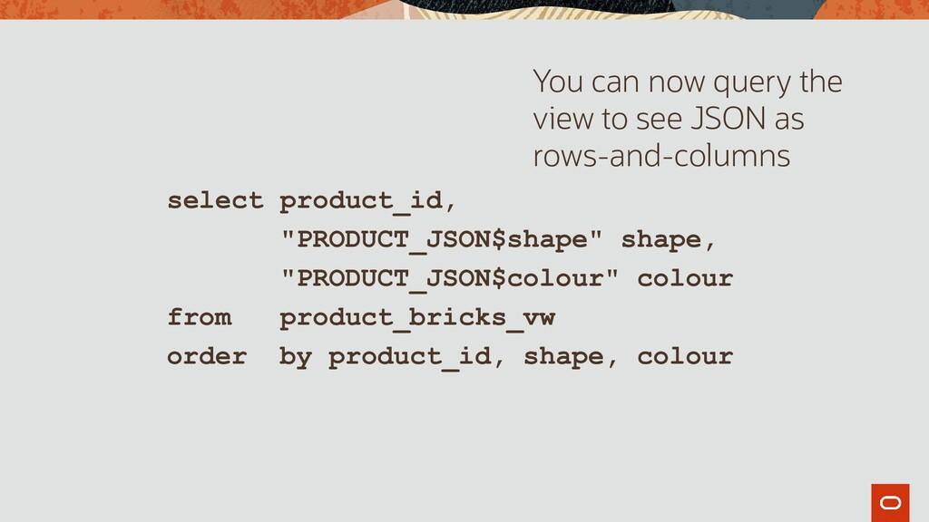 "select product_id, ""PRODUCT_JSON$shape"" shape, ..."