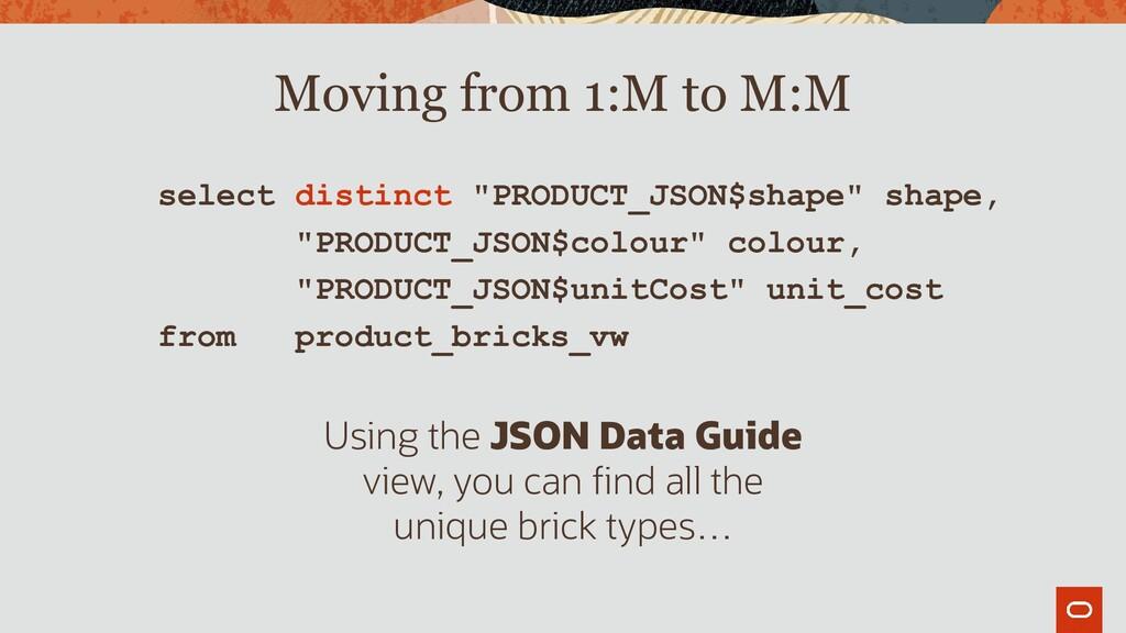 """select distinct """"PRODUCT_JSON$shape"""" shape, """"PR..."""