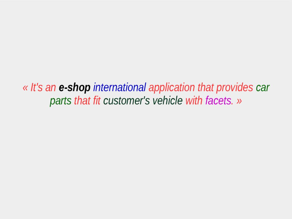 « It's an e-shop international application that...