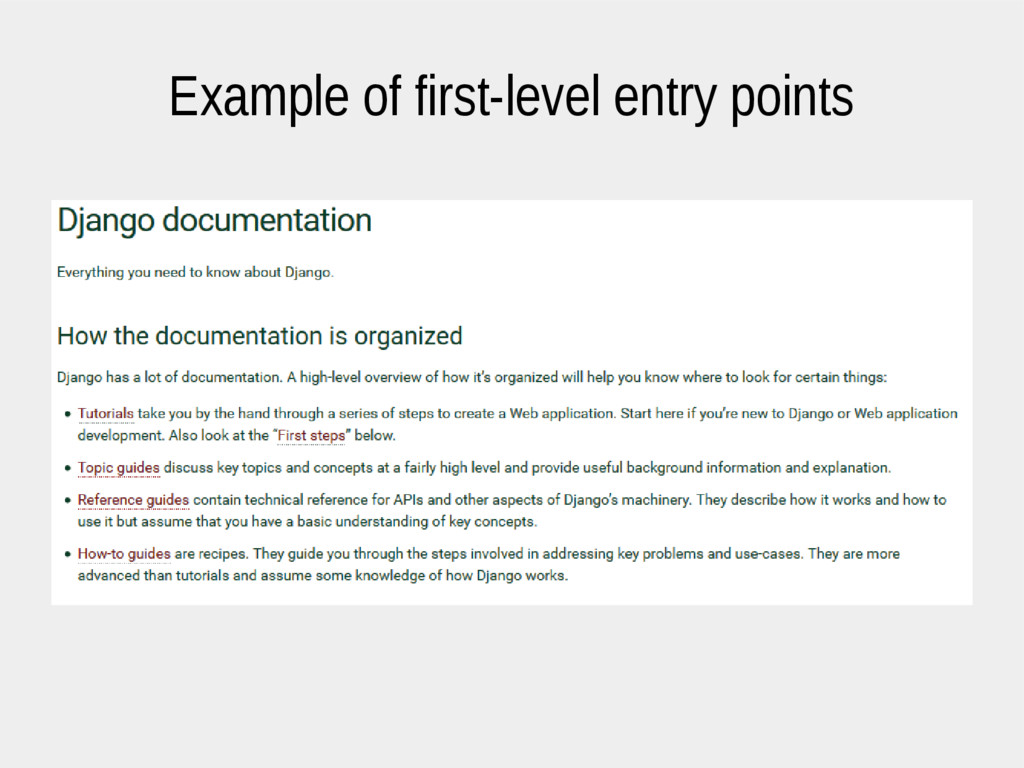 Example of first-level entry points