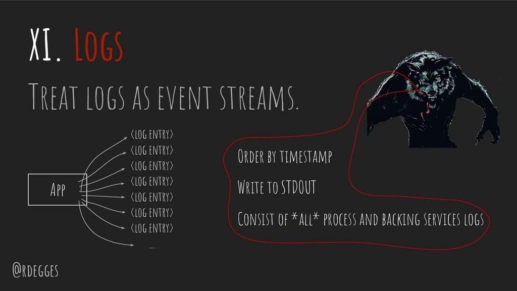 @rdegges XI. Logs Treat logs as event streams. ...