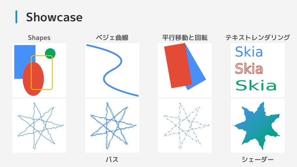 Showcase Shapes ベジェ曲線 平行移動と回転 テキストレンダリング シェーダー ...