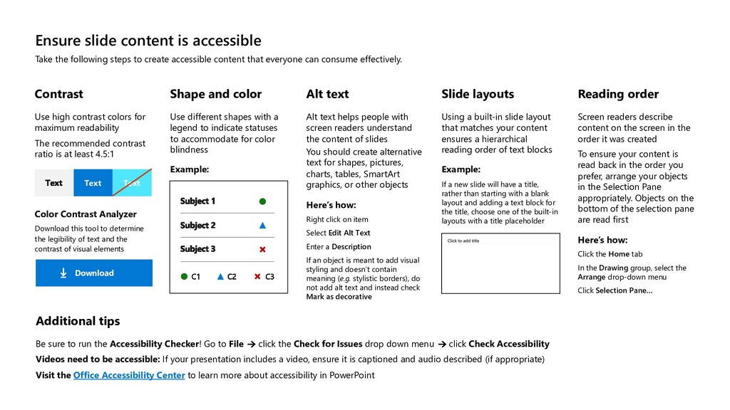 Ensure slide content is accessible Take the fol...