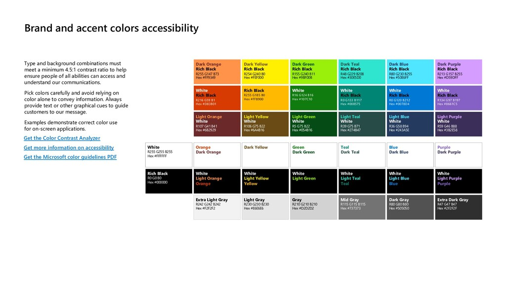 Brand and accent colors accessibility Type and ...