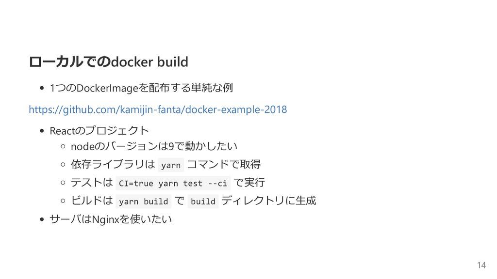 ローカルでのdocker build 1つのDockerImageを配布する単純な例 http...