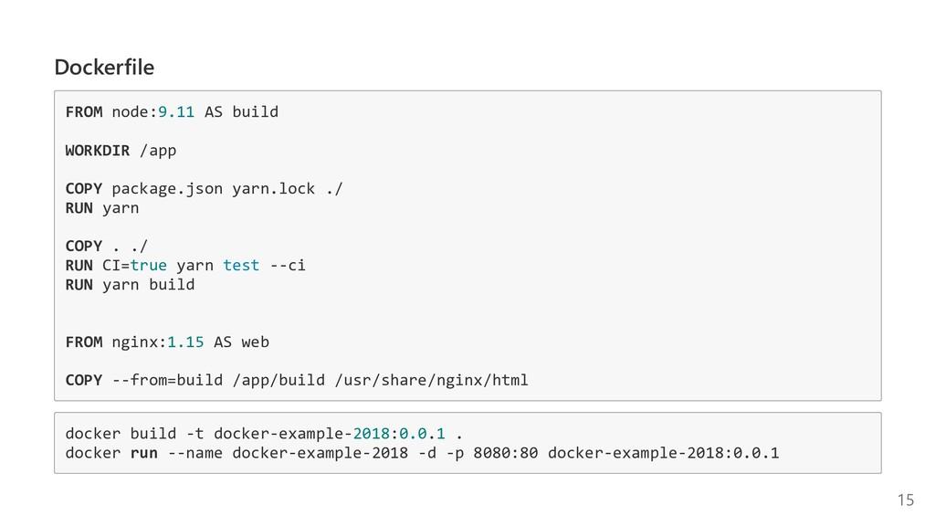 Dockerfile FROM node:9.11 AS build WORKDIR /app...