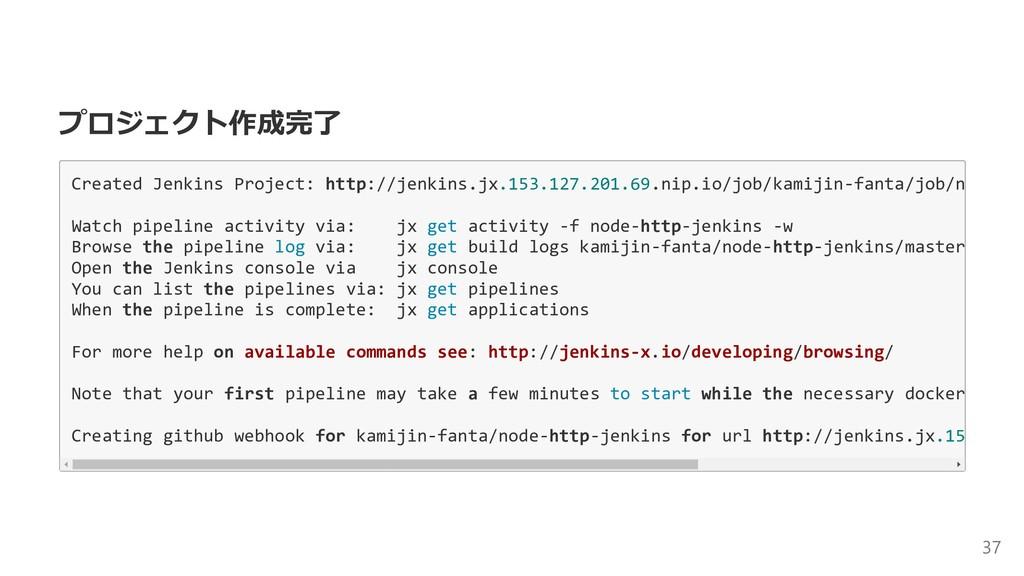 プロジェクト作成完了 Created Jenkins Project: http://jenk...
