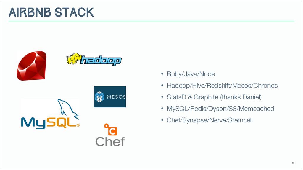 Airbnb Stack • Ruby/Java/Node • Hadoop/Hive/Red...