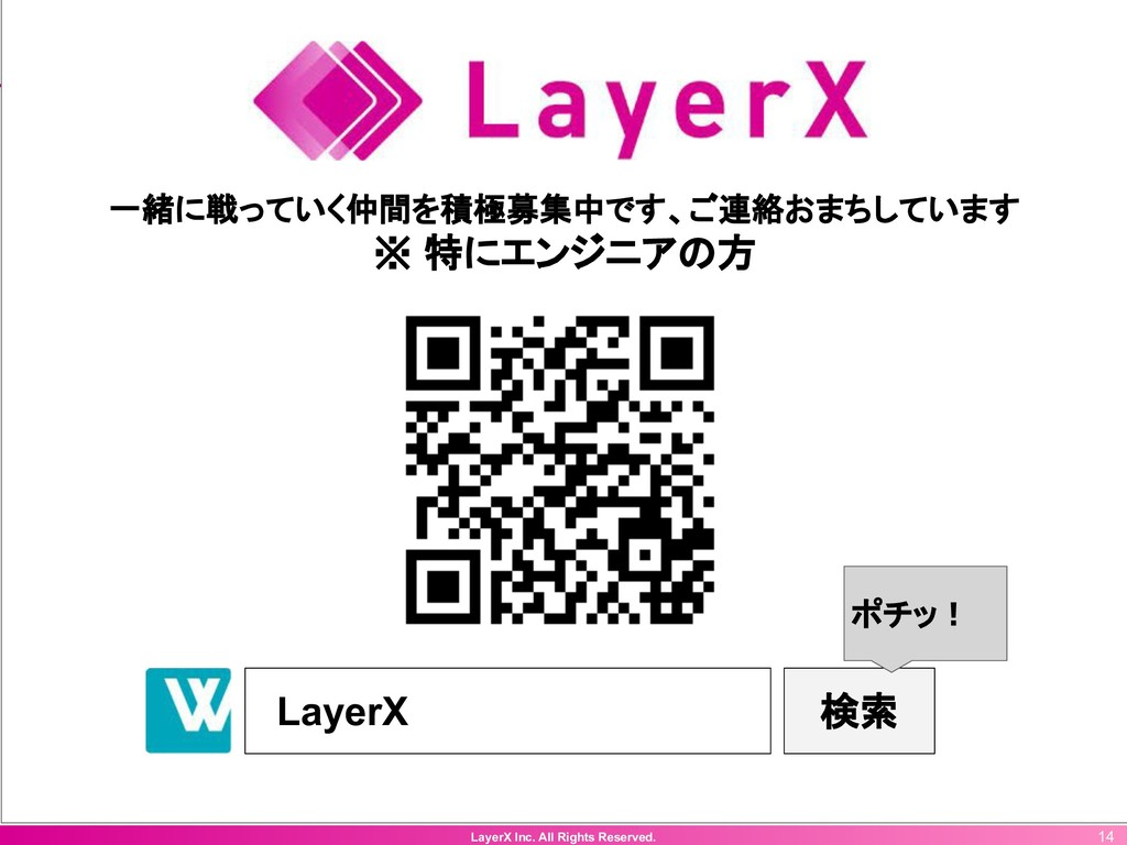 LayerX Inc. All Rights Reserved. 14 一緒に戦っていく仲間を...