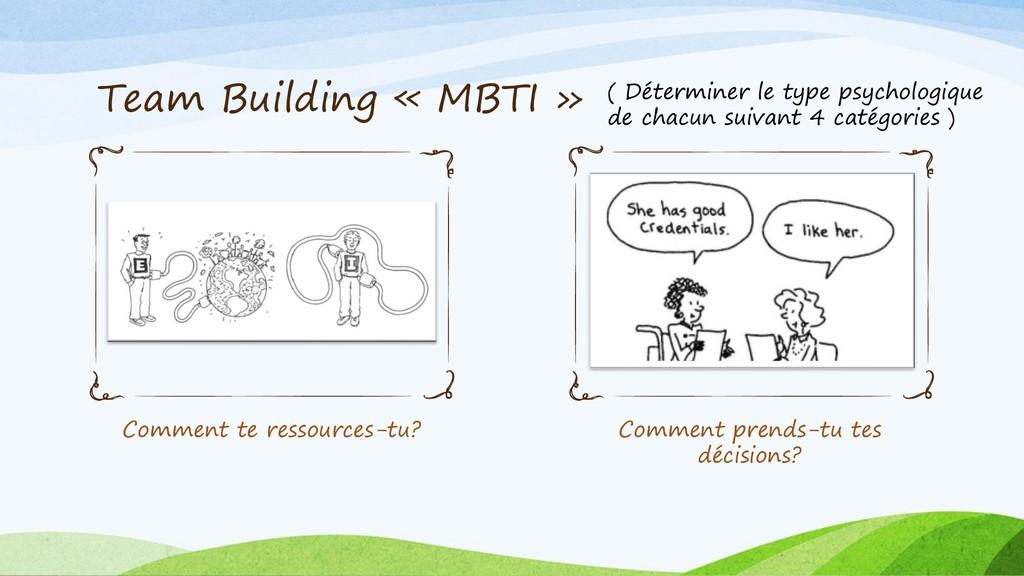 Team Building « MBTI » Comment te ressources-tu...