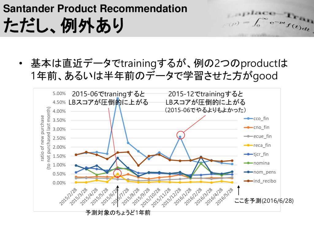 Santander Product Recommendation ただし、例外あり • 基本は...