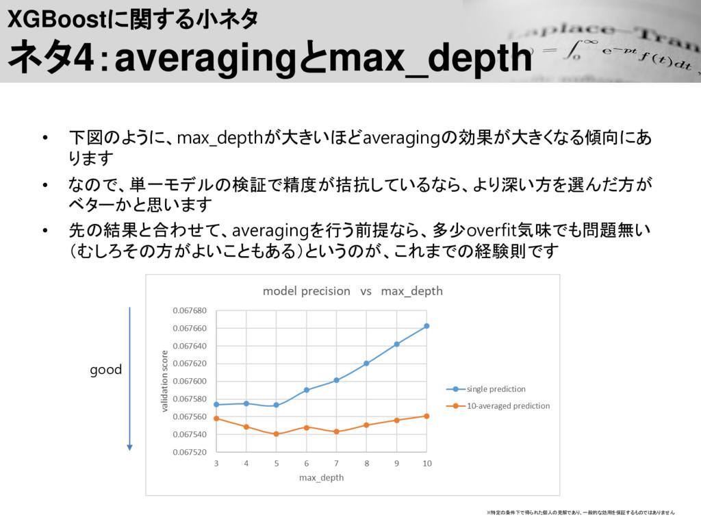 XGBoostに関する小ネタ ネタ4:averagingとmax_depth • 下図のように...