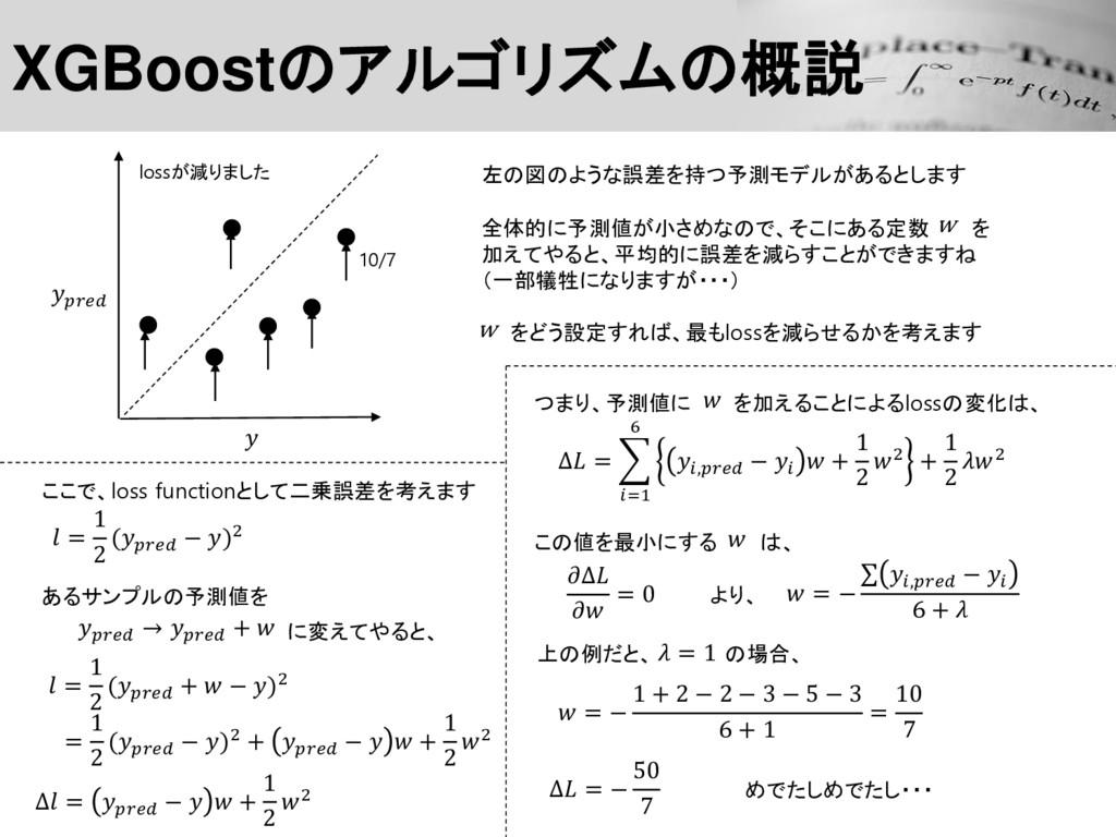 左の図のような誤差を持つ予測モデルがあるとします XGBoostのアルゴリズムの概説 全体的に...