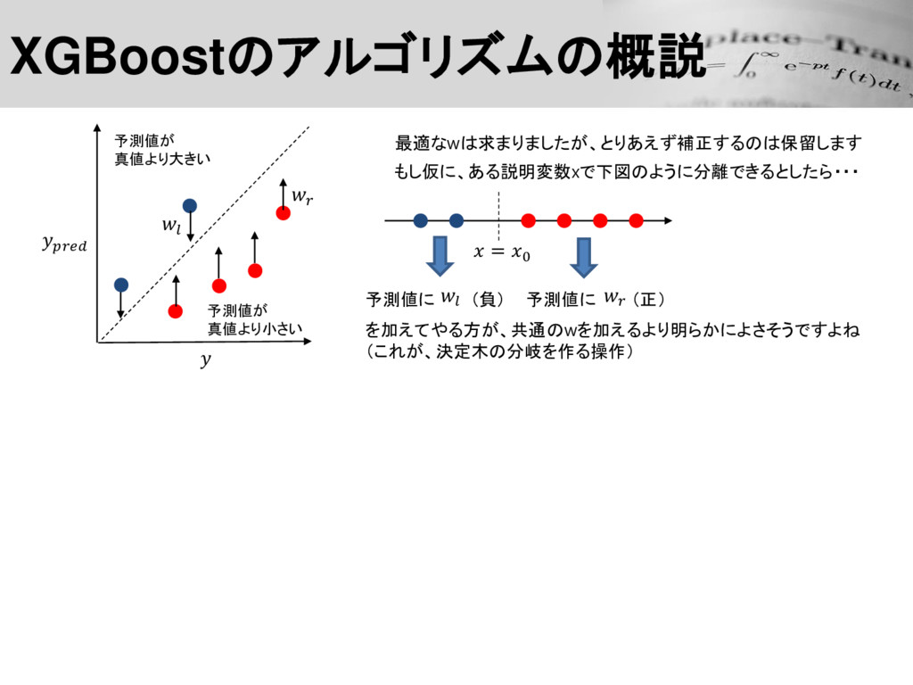 XGBoostのアルゴリズムの概説 予測値が 真値より大きい 予測値が 真値より小さい  ...