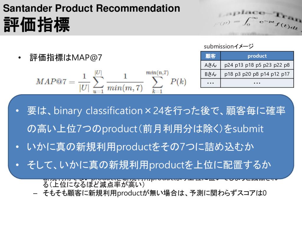 Santander Product Recommendation 評価指標 • 評価指標はMA...