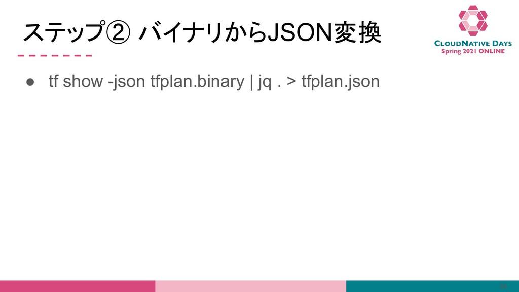 ステップ② バイナリからJSON変換 ● tf show -json tfplan.binar...