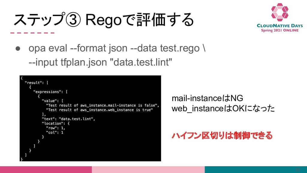 ステップ③ Regoで評価する ● opa eval --format json --data...