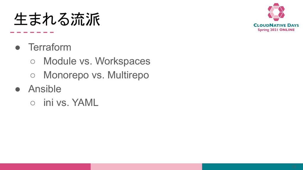 生まれる流派 ● Terraform ○ Module vs. Workspaces ○ Mo...