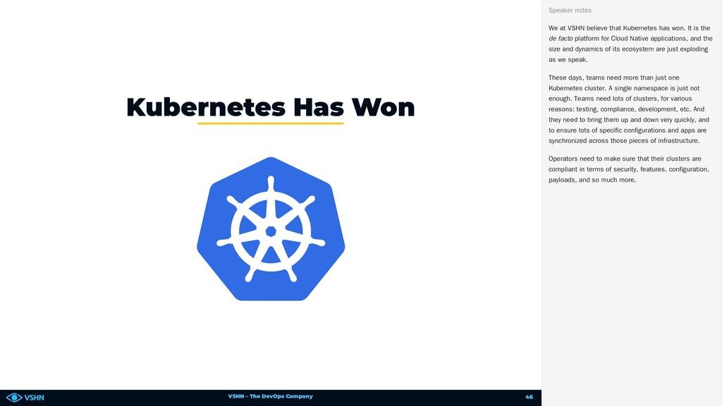 VSHN – The DevOps Company Kubernetes Has Won We...