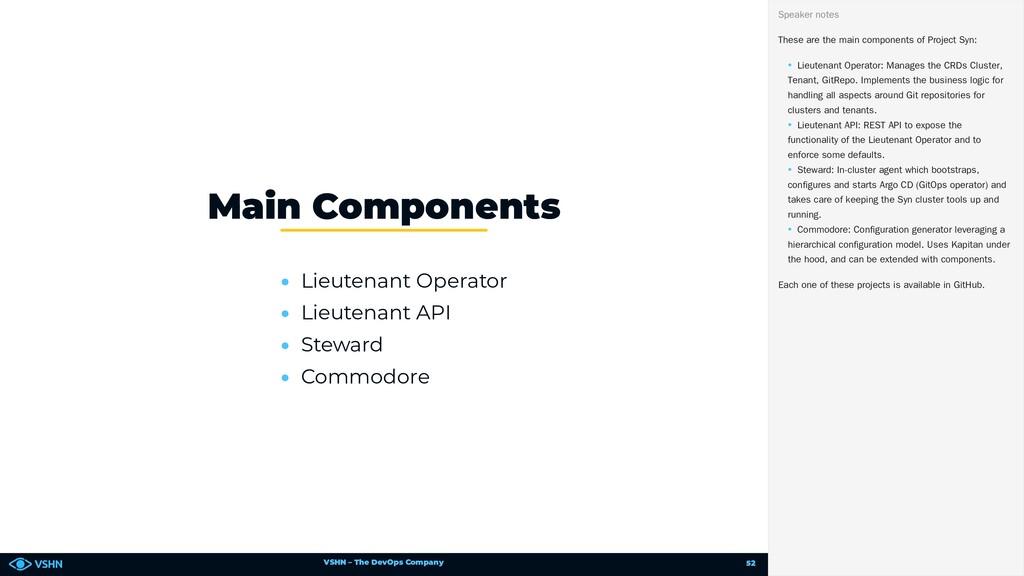 VSHN – The DevOps Company • Lieutenant Operator...