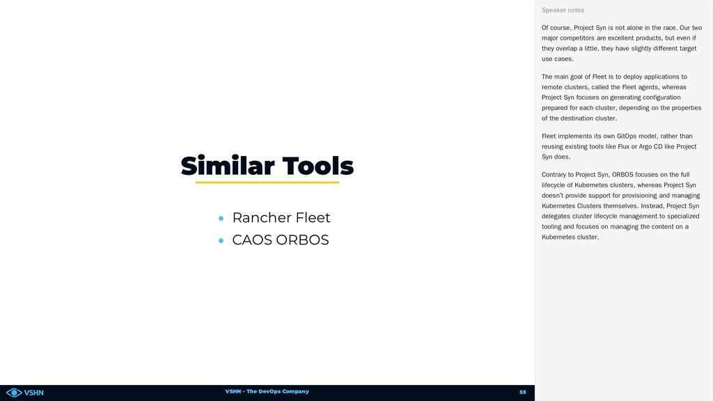 VSHN – The DevOps Company • Rancher Fleet • CAO...