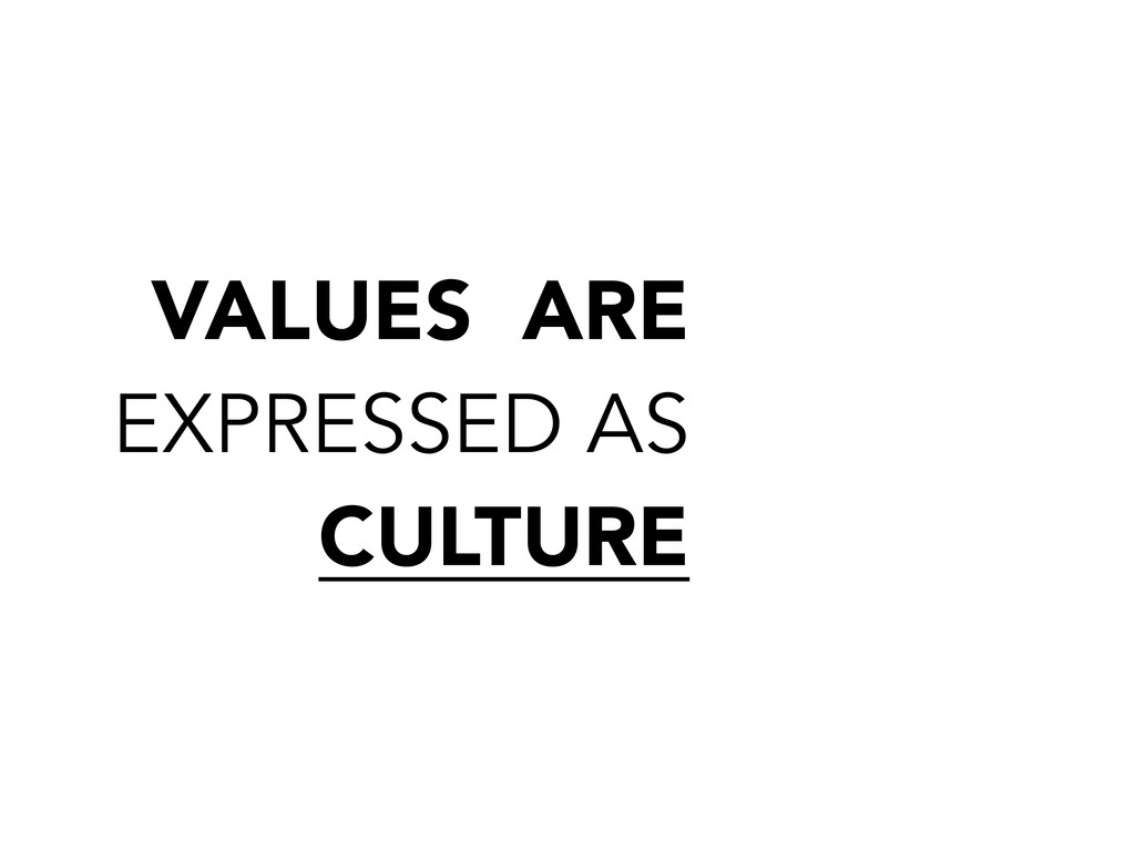 VALUES ARE EXPRESSED AS CULTURE