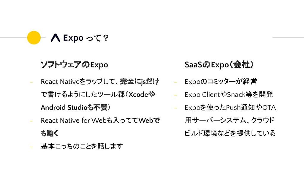 SaaSのExpo(会社) - Expoのコミッターが経営 - Expo ClientやSna...