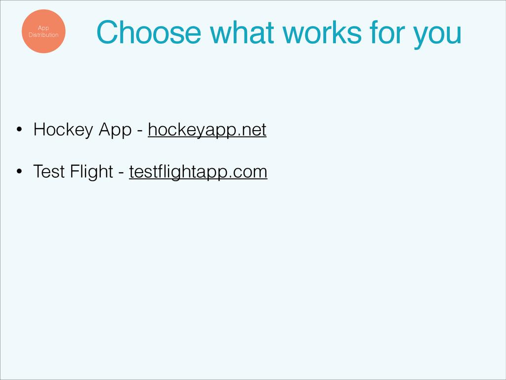• Hockey App - hockeyapp.net • Test Flight - te...