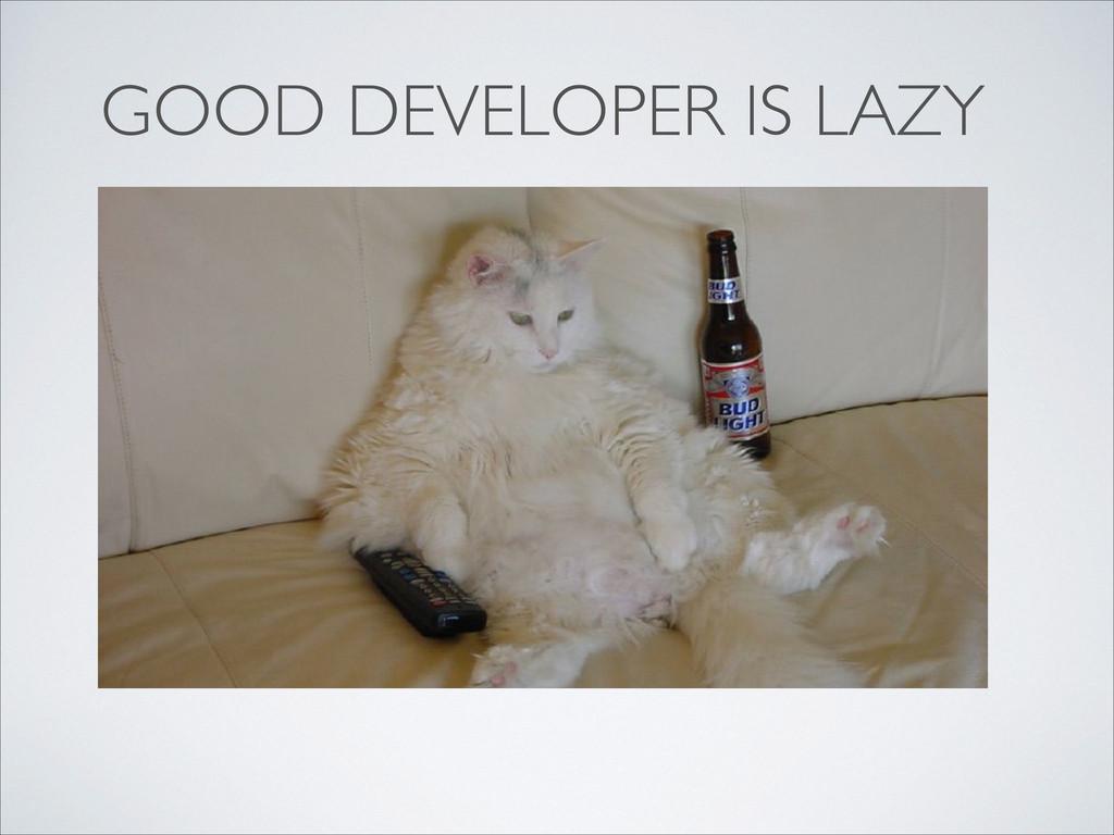 GOOD DEVELOPER IS LAZY