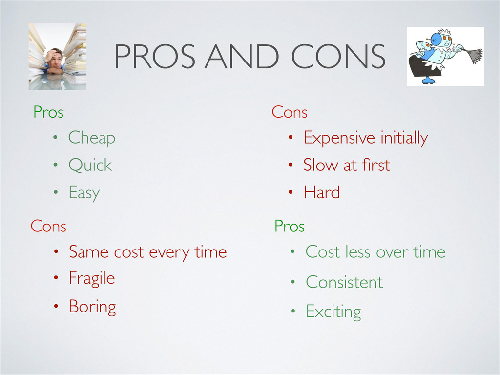 PROS AND CONS Pros Cons • Cheap • Expensive ini...