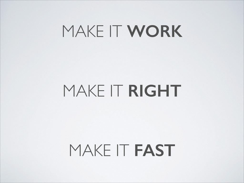MAKE IT WORK MAKE IT RIGHT MAKE IT FAST
