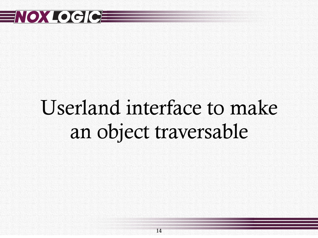 Userland interface to make an object traversabl...