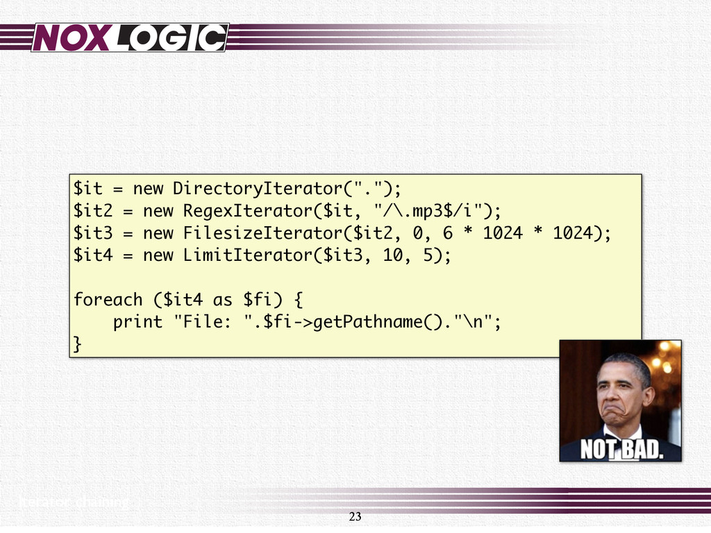 """$it = new DirectoryIterator("""".""""); $it2 = new Re..."""