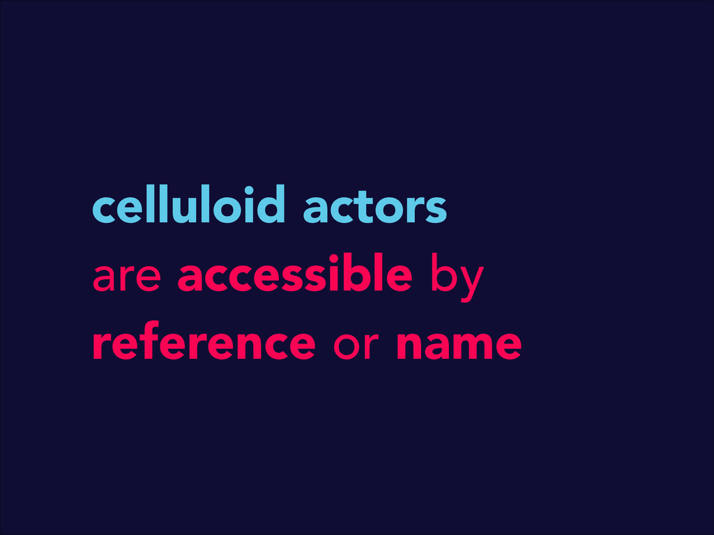 celluloid actors are accessible by reference or...