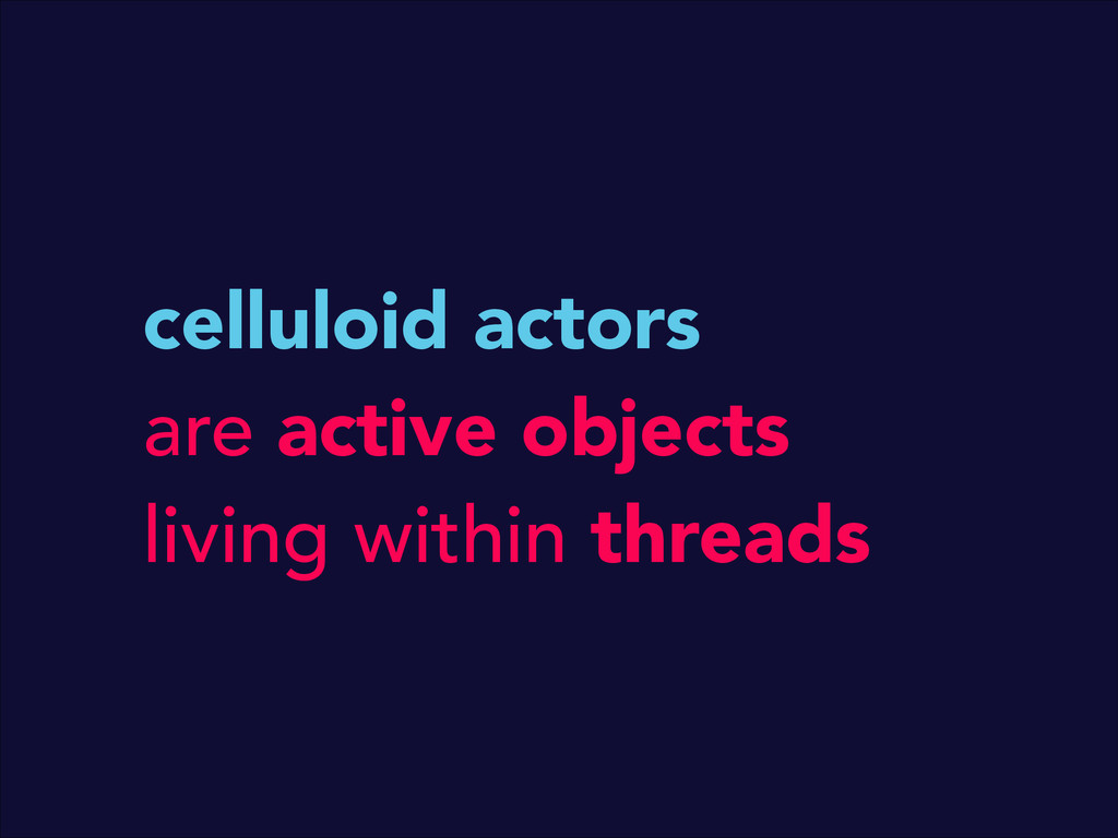 celluloid actors are active objects living with...