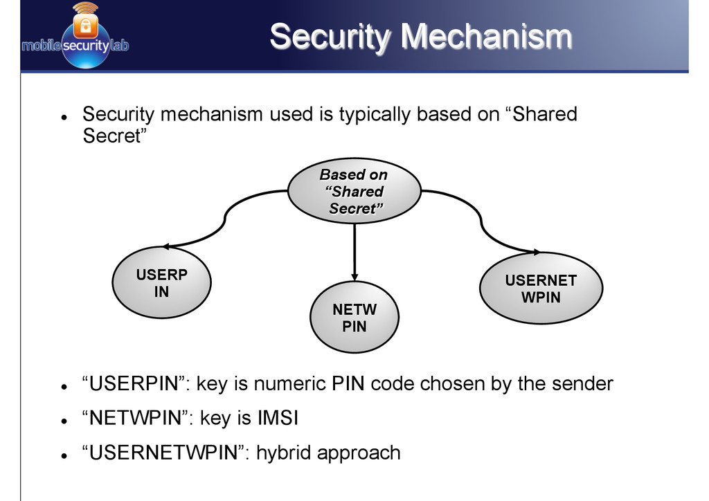Security Mechanism l Security mechanism used ...