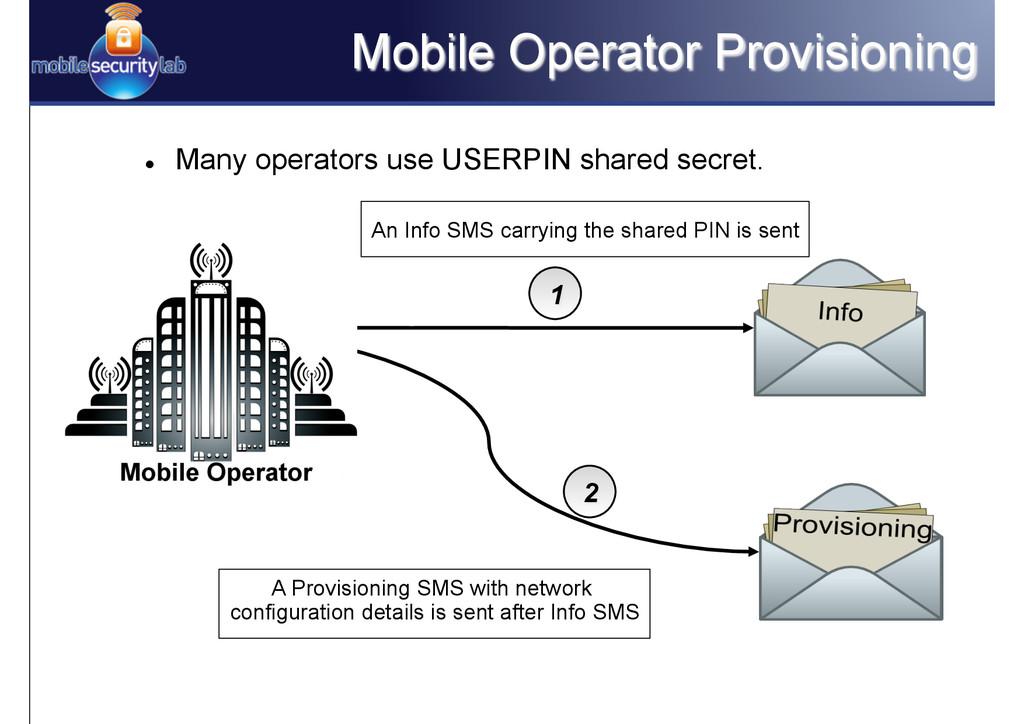 Mobile Operator Provisioning l Many operators...