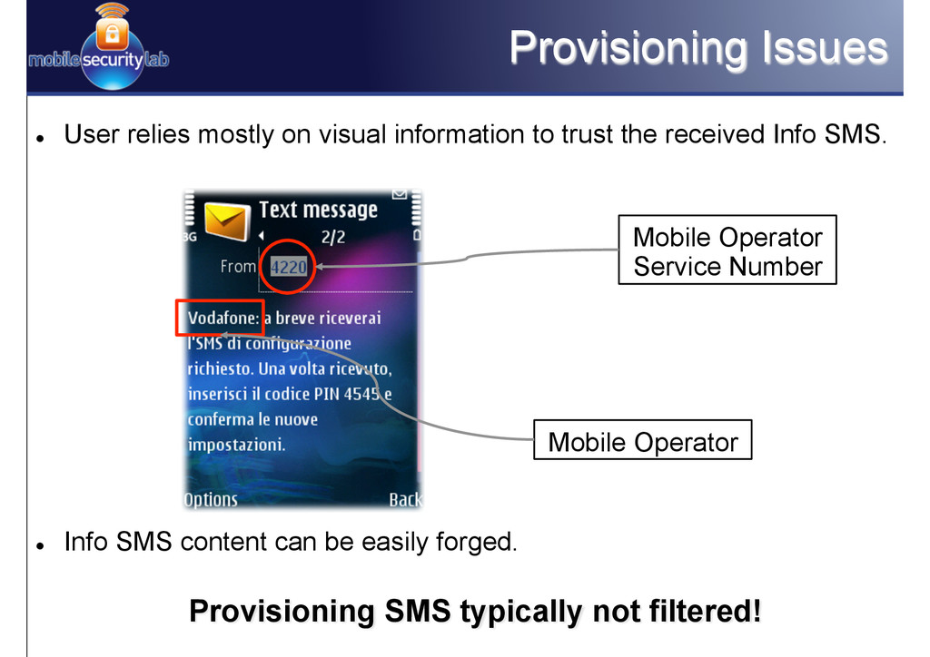 Provisioning Issues l User relies mostly on v...