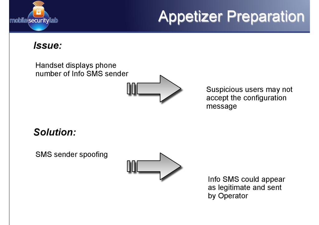 Appetizer Preparation Issue: Handset displays p...