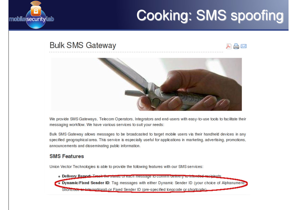 Cooking: SMS spoofing