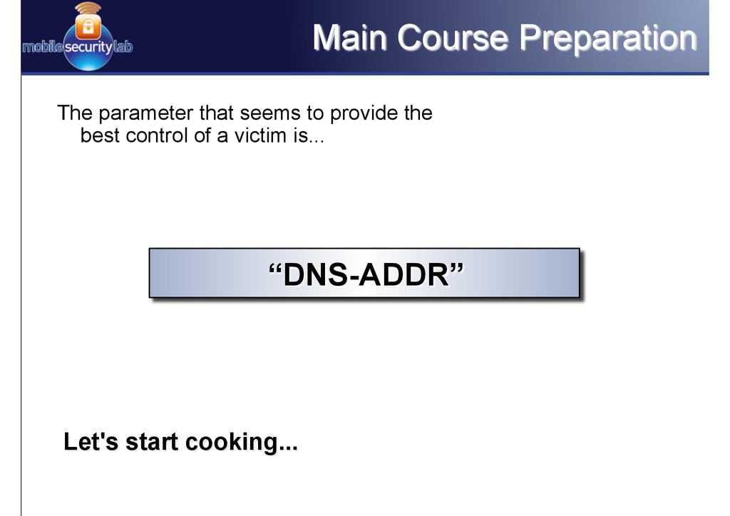 Main Course Preparation The parameter that seem...
