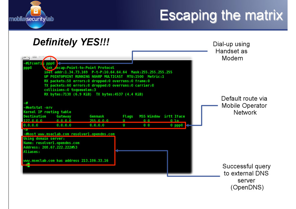 Escaping the matrix Definitely YES!!! Dial-up u...